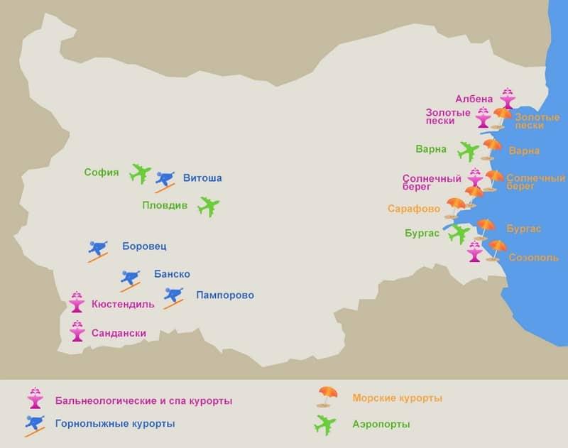 Курорти Болгарії на карті