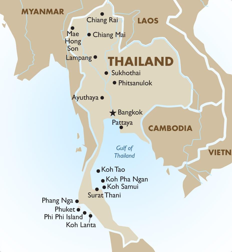 Найвідоміші курорти Таїланду на карті